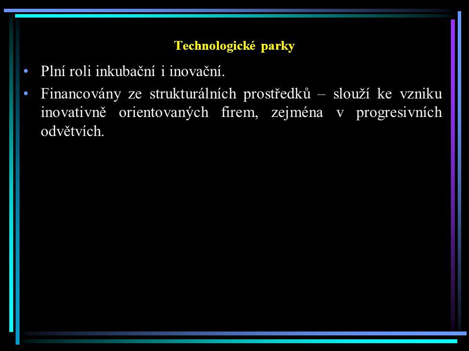 Technologické parky Plní roli inkubační i inovační.