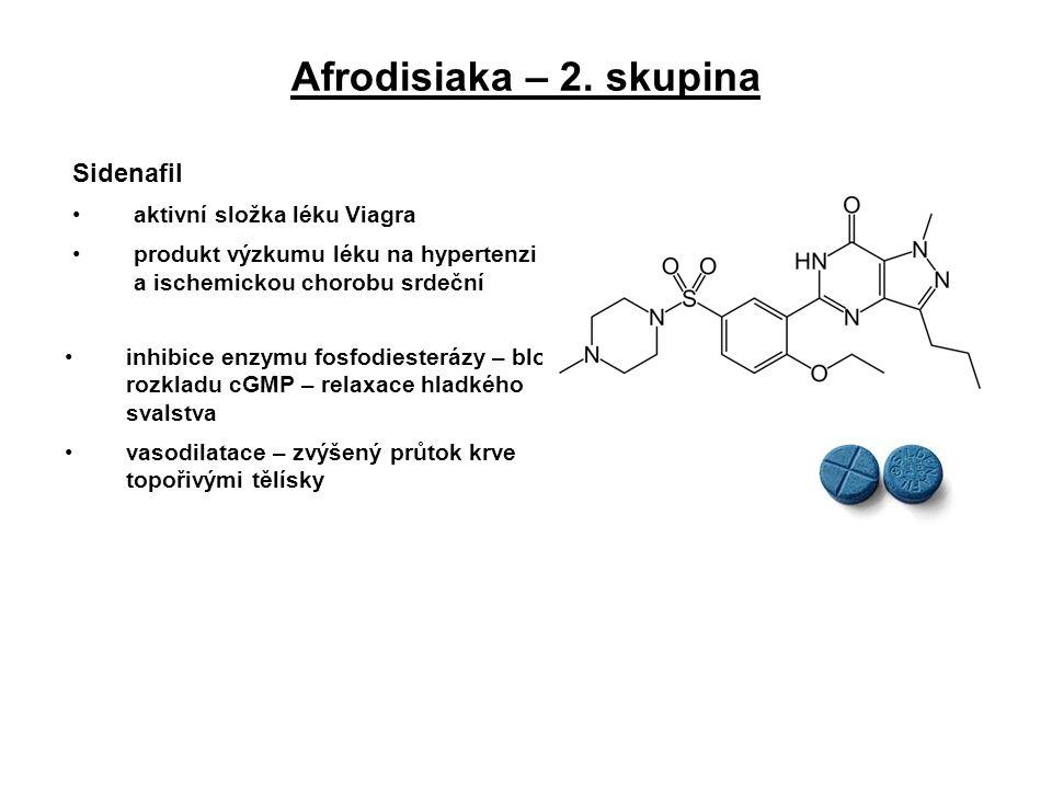 Afrodisiaka – 2. skupina Sidenafil aktivní složka léku Viagra produkt výzkumu léku na hypertenzi a ischemickou chorobu srdeční inhibice enzymu fosfodi