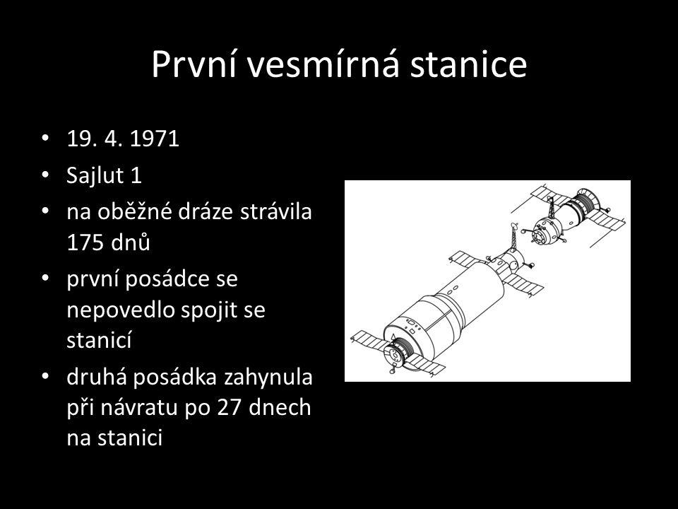 První vesmírná stanice 19. 4. 1971 Sajlut 1 na oběžné dráze strávila 175 dnů první posádce se nepovedlo spojit se stanicí druhá posádka zahynula při n