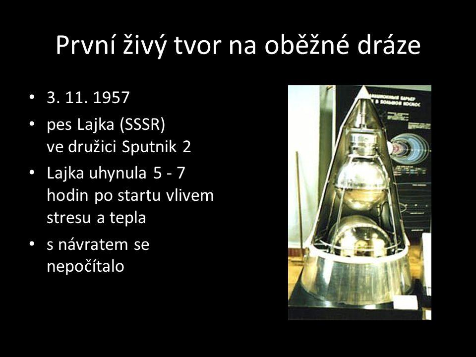 První živý tvor na oběžné dráze 3. 11. 1957 pes Lajka (SSSR) ve družici Sputnik 2 Lajka uhynula 5 - 7 hodin po startu vlivem stresu a tepla s návratem