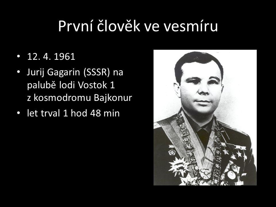 První člověk ve vesmíru 12. 4. 1961 Jurij Gagarin (SSSR) na palubě lodi Vostok 1 z kosmodromu Bajkonur let trval 1 hod 48 min