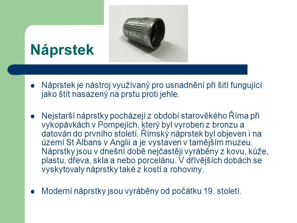 Náprstek Náprstek je nástroj využívaný pro usnadnění při šití fungující jako štít nasazený na prstu proti jehle. Nejstarší náprstky pocházejí z období