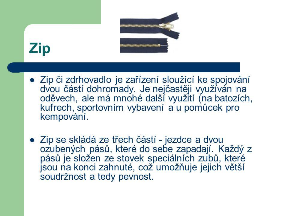Zip Zip či zdrhovadlo je zařízení sloužící ke spojování dvou částí dohromady. Je nejčastěji využíván na oděvech, ale má mnohé další využití (na batozí
