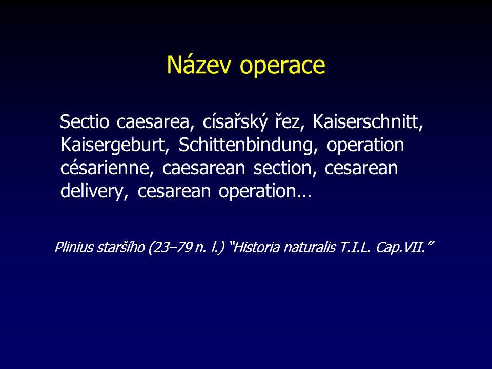 Historická poznámka Julius Caesar nar. okolo roku 100 př. n. l. ne abdominální porod