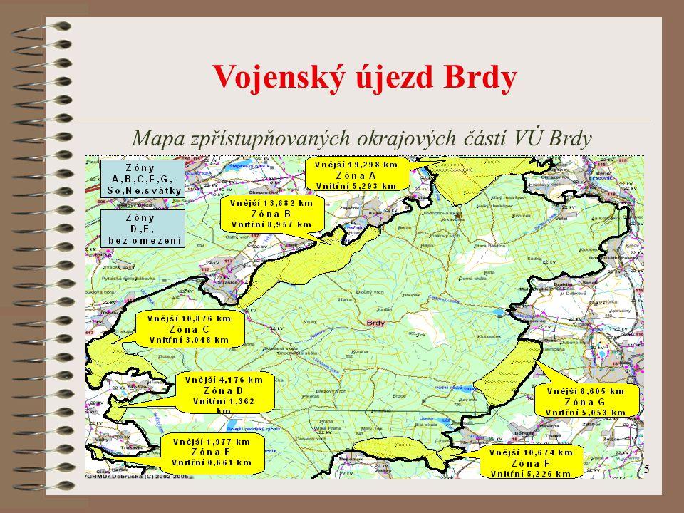 25 Vojenský újezd Brdy Mapa zpřístupňovaných okrajových částí VÚ Brdy