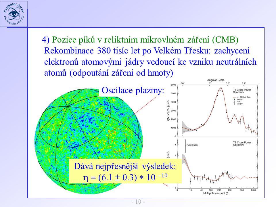 4) Pozice píků v reliktním mikrovlném záření (CMB) Rekombinace 380 tisíc let po Velkém Třesku: zachycení elektronů atomovými jádry vedoucí ke vzniku n