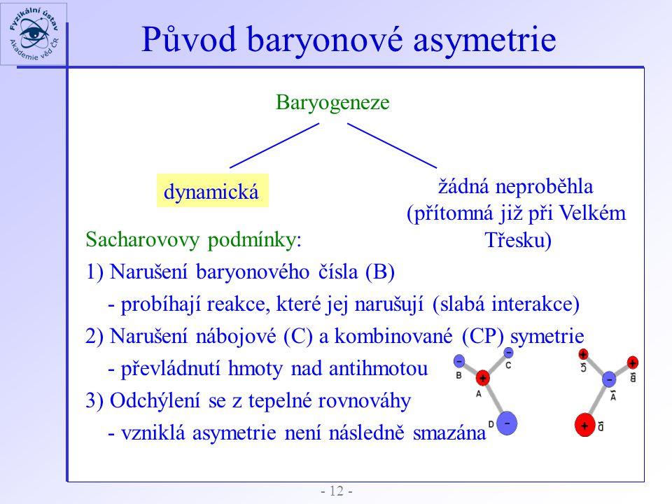 Původ baryonové asymetrie - 12 - Baryogeneze dynamická Sacharovovy podmínky: 1) Narušení baryonového čísla (B) - probíhají reakce, které jej narušují