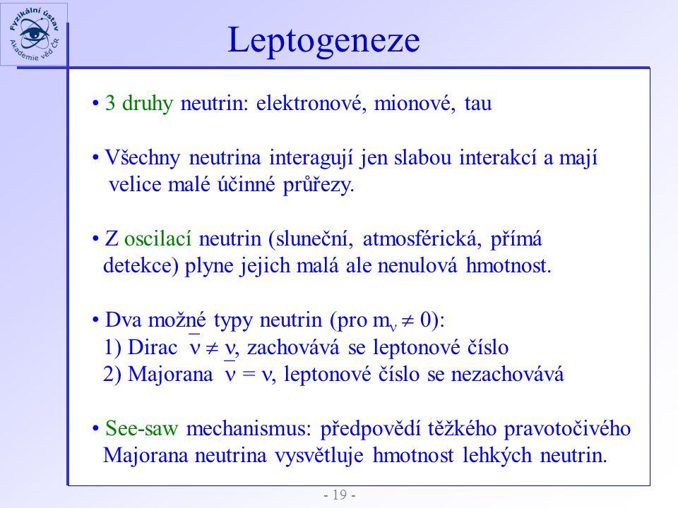 - 19 - Leptogeneze 3 druhy neutrin: elektronové, mionové, tau Všechny neutrina interagují jen slabou interakcí a mají velice malé účinné průřezy. Z os