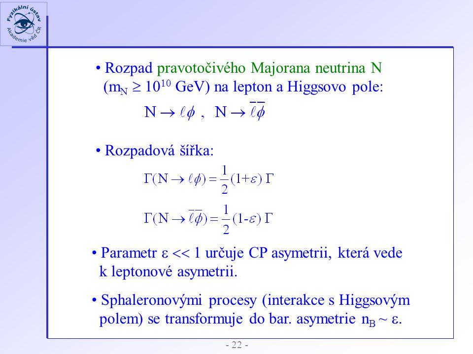 - 22 - Rozpad pravotočivého Majorana neutrina N (m N  10 10 GeV) na lepton a Higgsovo pole: Rozpadová šířka: Parametr   1 určuje CP asymetrii, kte