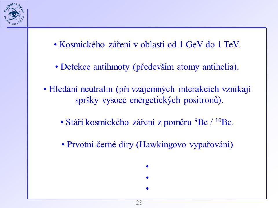 - 28 - Kosmického záření v oblasti od 1 GeV do 1 TeV. Detekce antihmoty (především atomy antihelia). Hledání neutralin (při vzájemných interakcích vzn