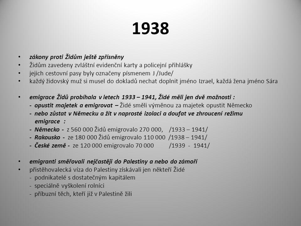 1938 zákony proti Židům ještě zpřísněny Židům zavedeny zvláštní evidenční karty a policejní přihlášky jejich cestovní pasy byly označeny písmenem J /J