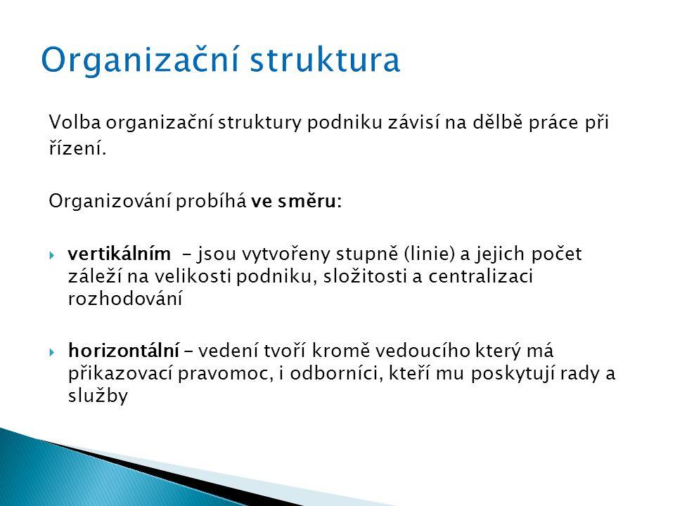 Volba organizační struktury podniku závisí na dělbě práce při řízení.
