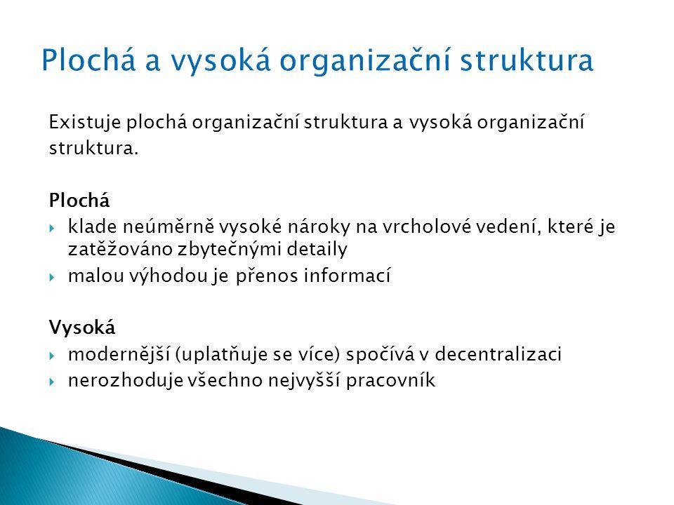 Existuje plochá organizační struktura a vysoká organizační struktura.