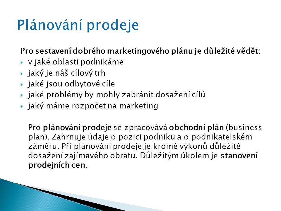 Pro sestavení dobrého marketingového plánu je důležité vědět:  v jaké oblasti podnikáme  jaký je náš cílový trh  jaké jsou odbytové cíle  jaké problémy by mohly zabránit dosažení cílů  jaký máme rozpočet na marketing Pro plánování prodeje se zpracovává obchodní plán (business plan).