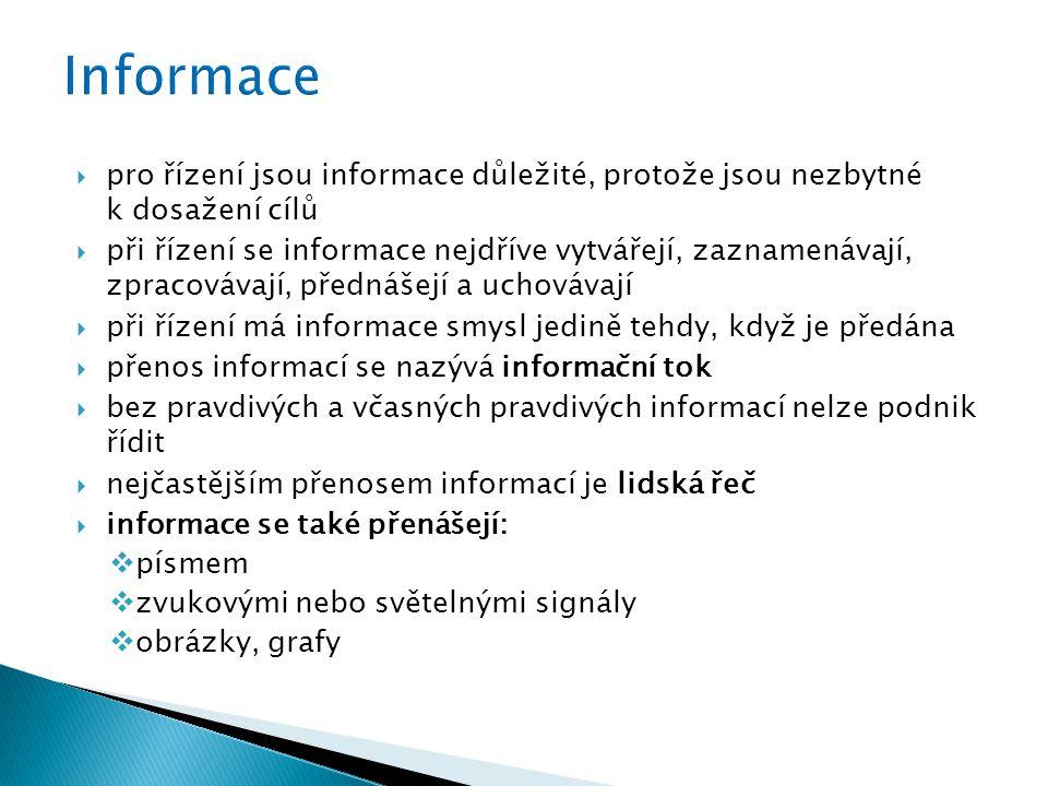  pro řízení jsou informace důležité, protože jsou nezbytné k dosažení cílů  při řízení se informace nejdříve vytvářejí, zaznamenávají, zpracovávají, přednášejí a uchovávají  při řízení má informace smysl jedině tehdy, když je předána  přenos informací se nazývá informační tok  bez pravdivých a včasných pravdivých informací nelze podnik řídit  nejčastějším přenosem informací je lidská řeč  informace se také přenášejí:  písmem  zvukovými nebo světelnými signály  obrázky, grafy