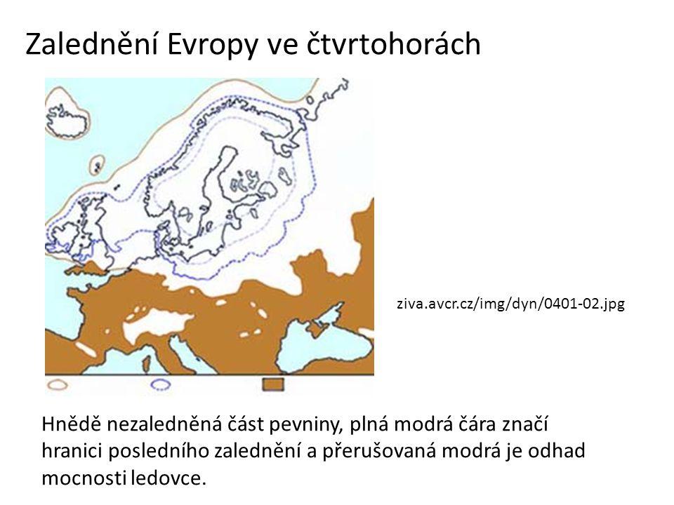 Zalednění Evropy ve čtvrtohorách Hnědě nezaledněná část pevniny, plná modrá čára značí hranici posledního zalednění a přerušovaná modrá je odhad mocno