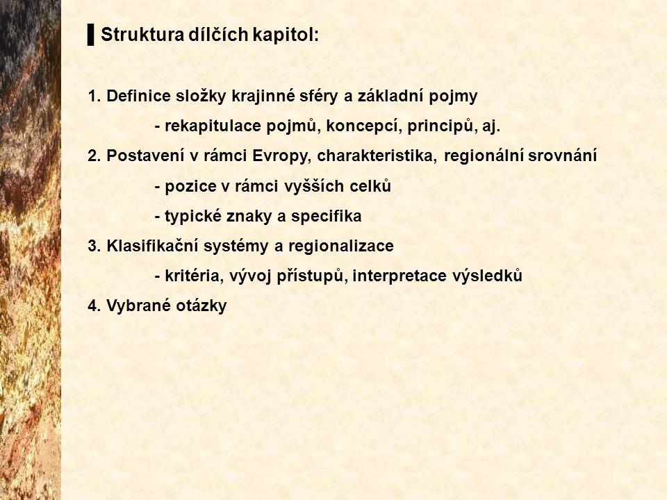 ▌Struktura dílčích kapitol: 1. Definice složky krajinné sféry a základní pojmy - rekapitulace pojmů, koncepcí, principů, aj. 2. Postavení v rámci Evro