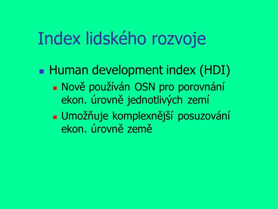 Index lidského rozvoje Human development index (HDI) Nově používán OSN pro porovnání ekon.