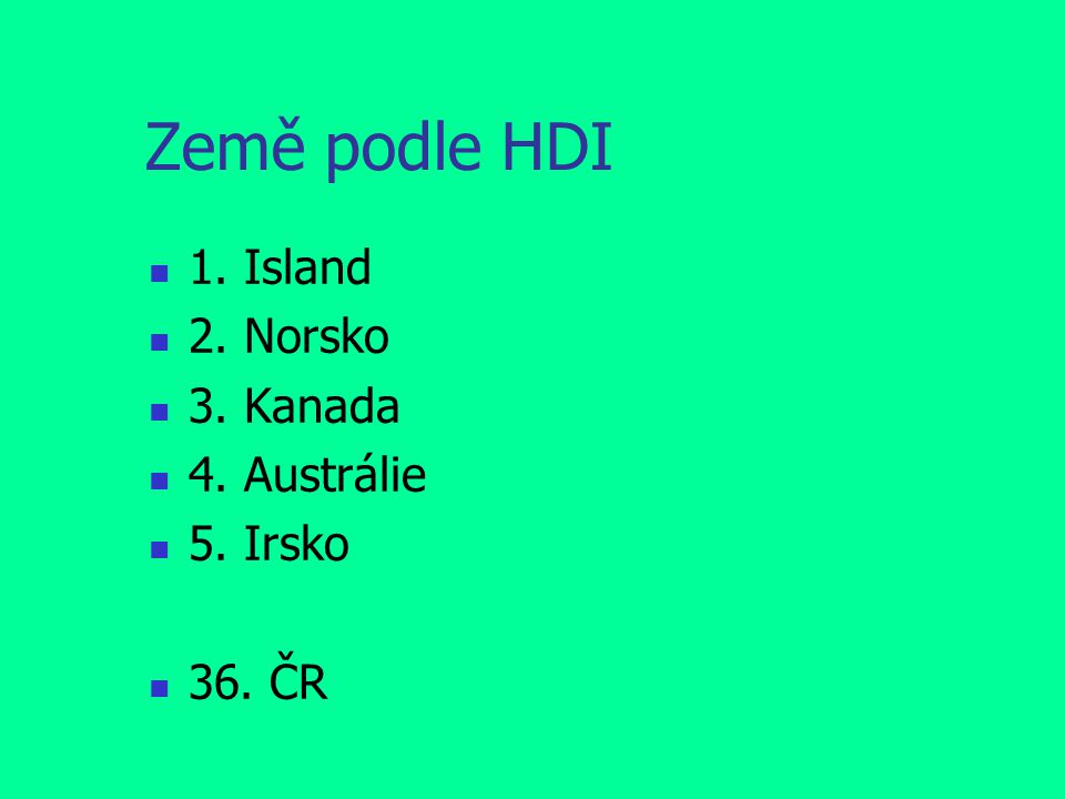 Země podle HDI 1. Island 2. Norsko 3. Kanada 4. Austrálie 5. Irsko 36. ČR