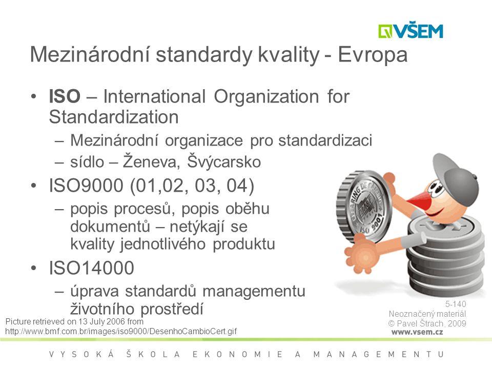 ISO – International Organization for Standardization –Mezinárodní organizace pro standardizaci –sídlo – Ženeva, Švýcarsko ISO9000 (01,02, 03, 04) –popis procesů, popis oběhu dokumentů – netýkají se kvality jednotlivého produktu ISO14000 –úprava standardů managementu životního prostředí Mezinárodní standardy kvality - Evropa Picture retrieved on 13 July 2006 from http://www.bmf.com.br/images/iso9000/DesenhoCambioCert.gif 5-140 Neoznačený materiál © Pavel Štrach, 2009