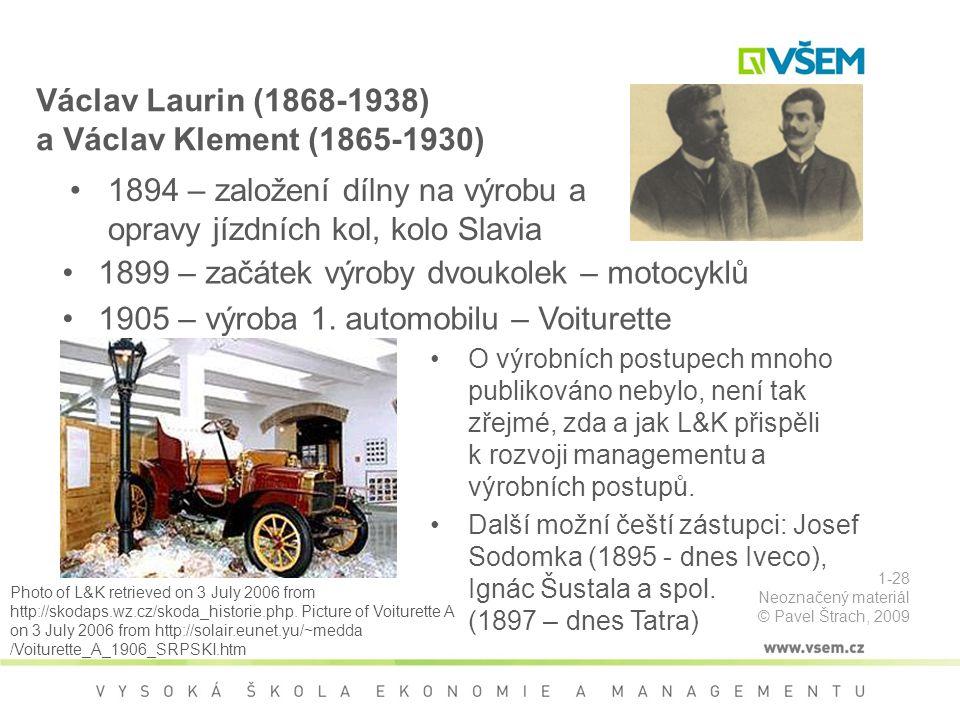 Václav Laurin (1868-1938) a Václav Klement (1865-1930) 1899 – začátek výroby dvoukolek – motocyklů 1905 – výroba 1.