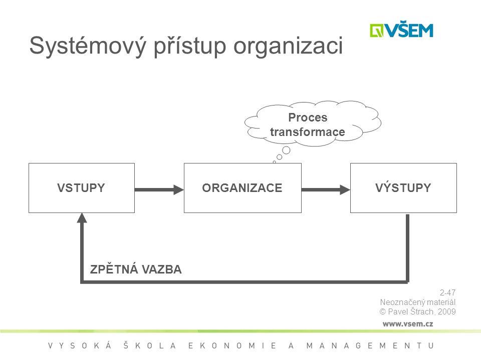 Systémový přístup organizaci VSTUPYORGANIZACEVÝSTUPY ZPĚTNÁ VAZBA Proces transformace 2-47 Neoznačený materiál © Pavel Štrach, 2009