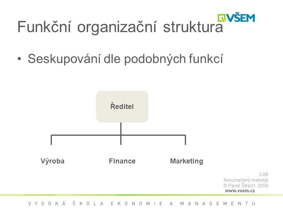 Funkční organizační struktura Seskupování dle podobných funkcí Výroba Ředitel FinanceMarketing 3-88 Neoznačený materiál © Pavel Štrach, 2009