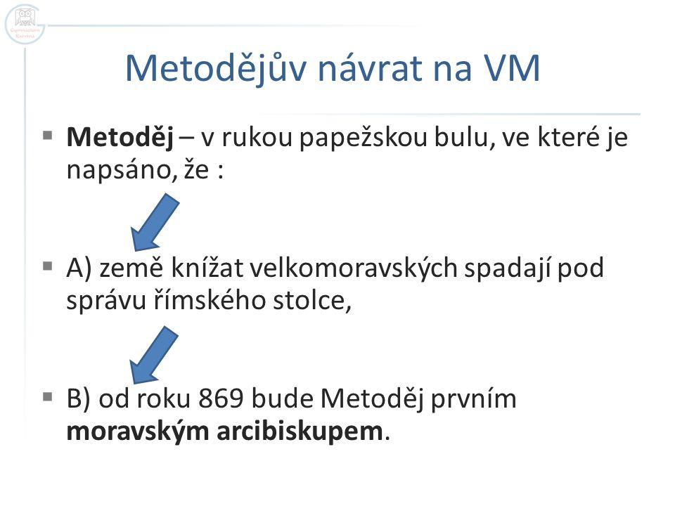 Metodějův návrat na VM  Metoděj – v rukou papežskou bulu, ve které je napsáno, že :  A) země knížat velkomoravských spadají pod správu římského stol