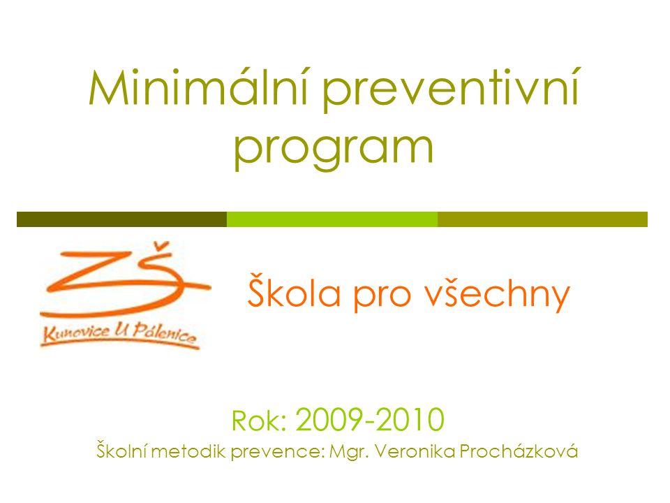 Minimální preventivní program Škola pro všechny Rok: 2009-2010 Školní metodik prevence: Mgr. Veronika Procházková