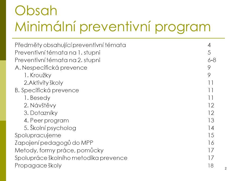 2 Obsah Minimální preventivní program Předměty obsahující preventivní témata4 Preventivní témata na 1. stupni5 Preventivní témata na 2. stupni6-8 A. N