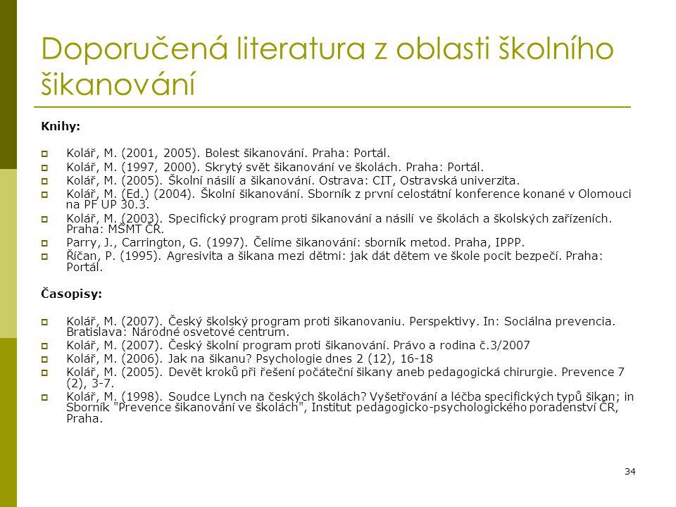 34 Doporučená literatura z oblasti školního šikanování Knihy:  Kolář, M. (2001, 2005). Bolest šikanování. Praha: Portál.  Kolář, M. (1997, 2000). Sk