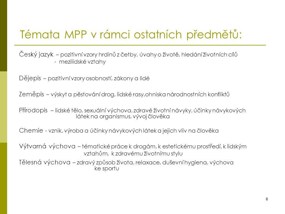 8 Témata MPP v rámci ostatních předmětů: Český jazyk – pozitivní vzory hrdinů z četby, úvahy o životě, hledání životních cílů - mezilidské vztahy Děje