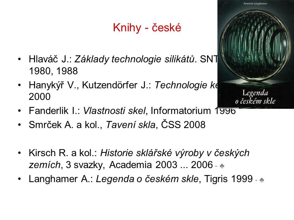 Knihy - české Hlaváč J.: Základy technologie silikátů. SNTL Praha 1980, 1988 Hanykýř V., Kutzendörfer J.: Technologie keramiky, Silis 2000 Fanderlik I