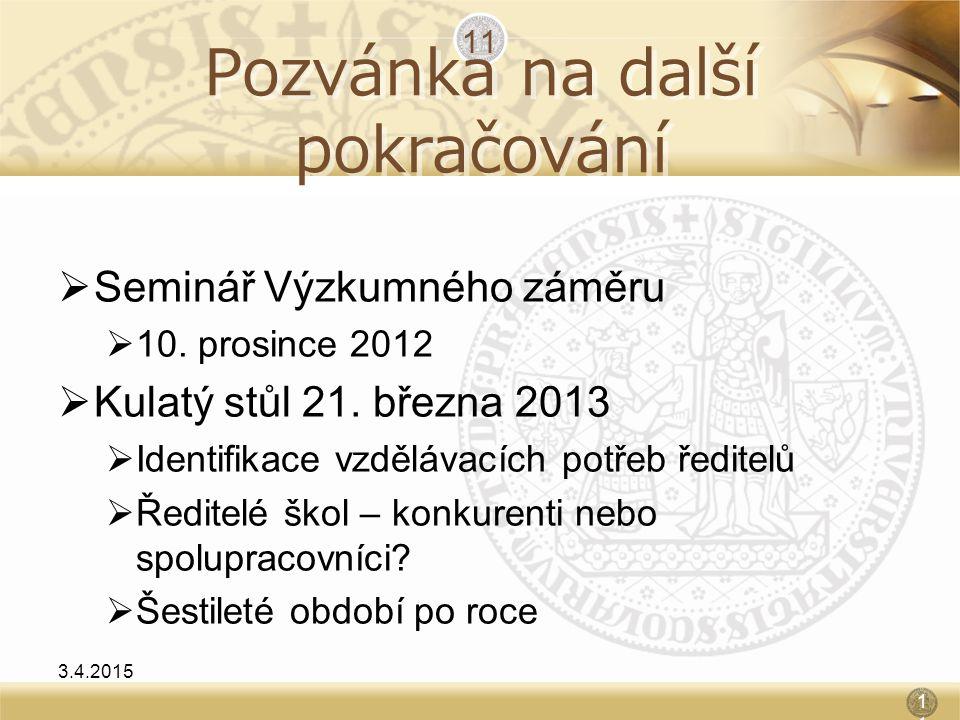 Pozvánka na další pokračování  Seminář Výzkumného záměru  10. prosince 2012  Kulatý stůl 21. března 2013  Identifikace vzdělávacích potřeb ředitel