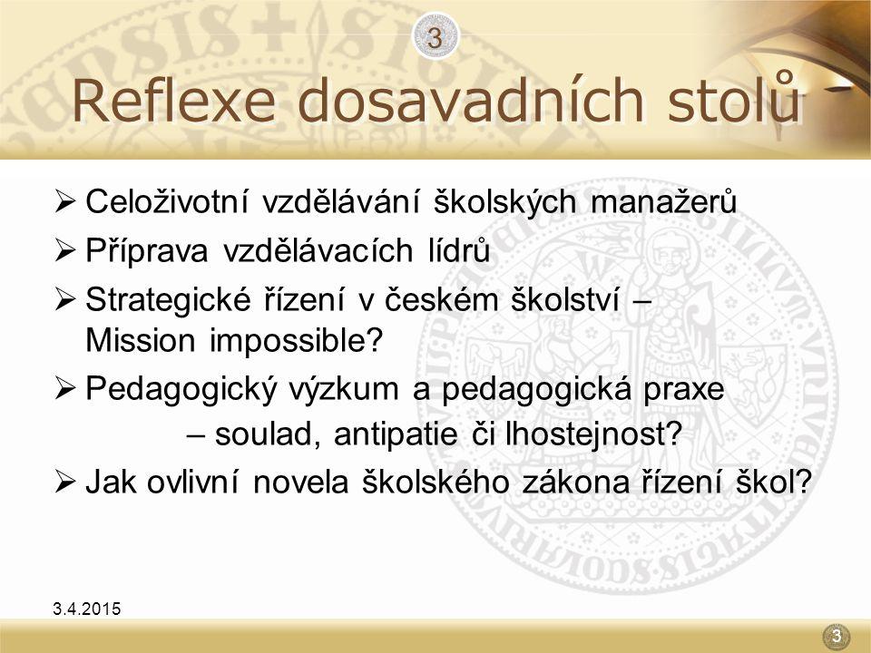 Reflexe dosavadních stolů  Celoživotní vzdělávání školských manažerů  Příprava vzdělávacích lídrů  Strategické řízení v českém školství – Mission i
