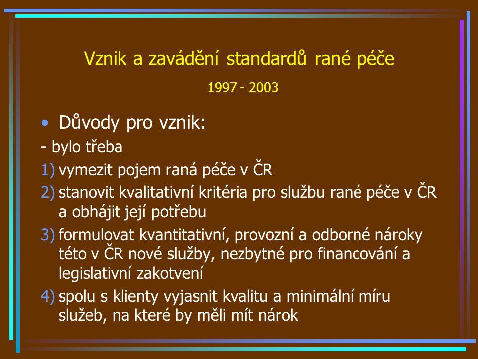 Vznik a zavádění standardů rané péče 1997 - 2003 Důvody pro vznik: - bylo třeba 1)vymezit pojem raná péče v ČR 2)stanovit kvalitativní kritéria pro službu rané péče v ČR a obhájit její potřebu 3)formulovat kvantitativní, provozní a odborné nároky této v ČR nové služby, nezbytné pro financování a legislativní zakotvení 4)spolu s klienty vyjasnit kvalitu a minimální míru služeb, na které by měli mít nárok