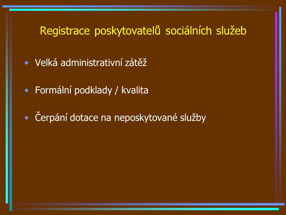Registrace poskytovatelů sociálních služeb Velká administrativní zátěž Formální podklady / kvalita Čerpání dotace na neposkytované služby