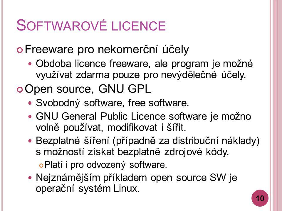 S OFTWAROVÉ LICENCE Freeware pro nekomerční účely Obdoba licence freeware, ale program je možné využívat zdarma pouze pro nevýdělečné účely.