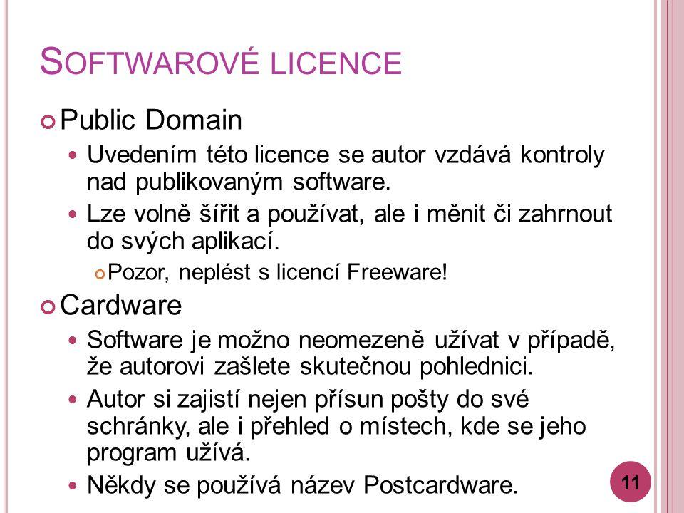 S OFTWAROVÉ LICENCE Public Domain Uvedením této licence se autor vzdává kontroly nad publikovaným software.