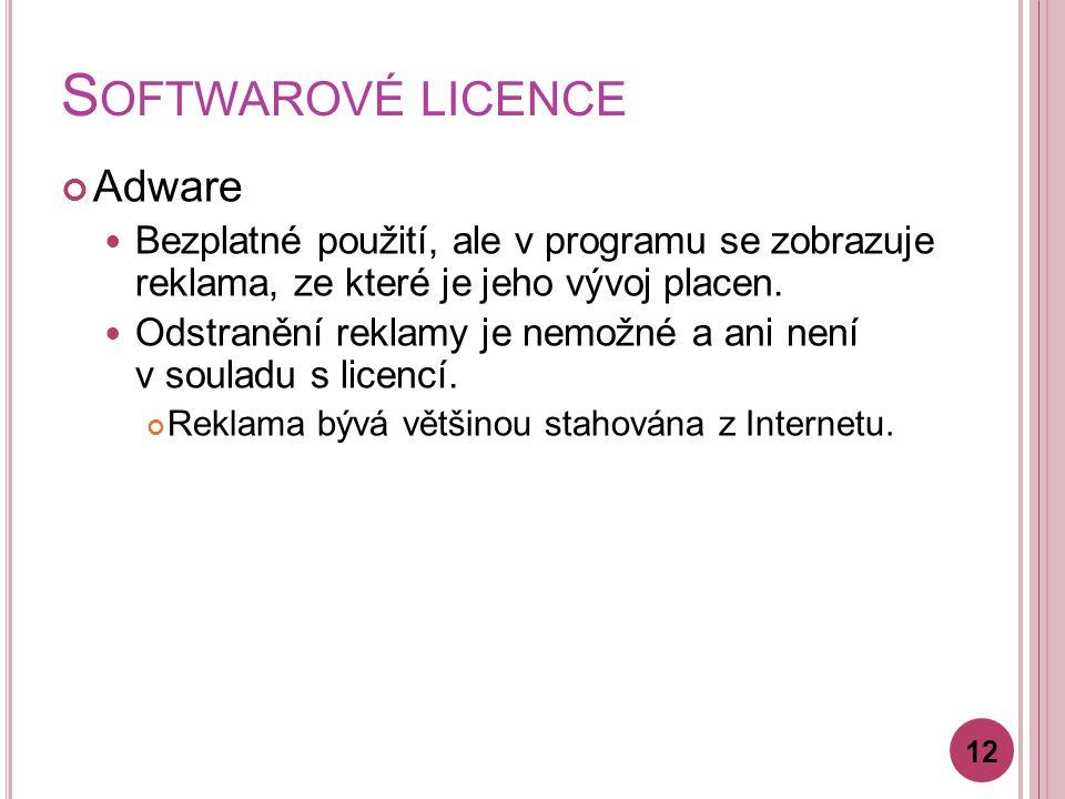 S OFTWAROVÉ LICENCE Adware Bezplatné použití, ale v programu se zobrazuje reklama, ze které je jeho vývoj placen.