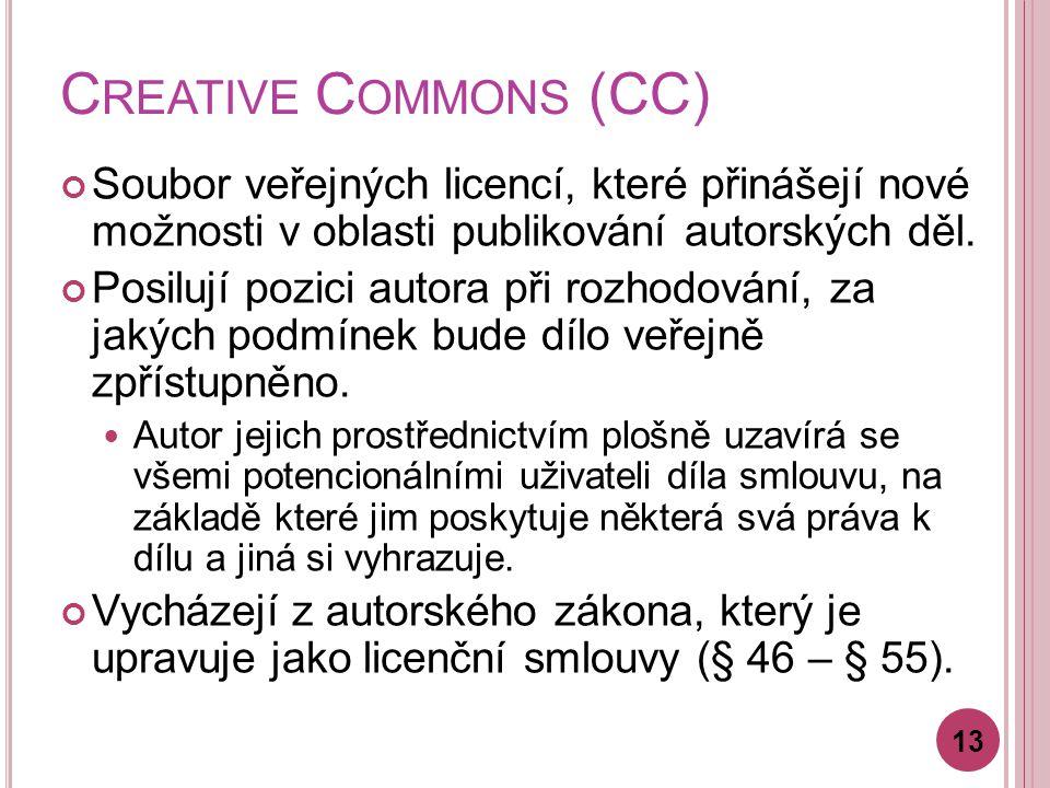 C REATIVE C OMMONS (CC) Soubor veřejných licencí, které přinášejí nové možnosti v oblasti publikování autorských děl.