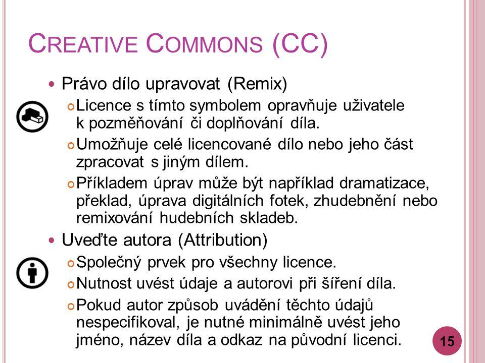 C REATIVE C OMMONS (CC) Právo dílo upravovat (Remix) Licence s tímto symbolem opravňuje uživatele k pozměňování či doplňování díla.