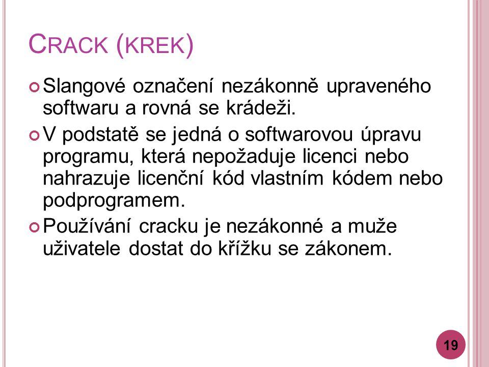 C RACK ( KREK ) Slangové označení nezákonně upraveného softwaru a rovná se krádeži.