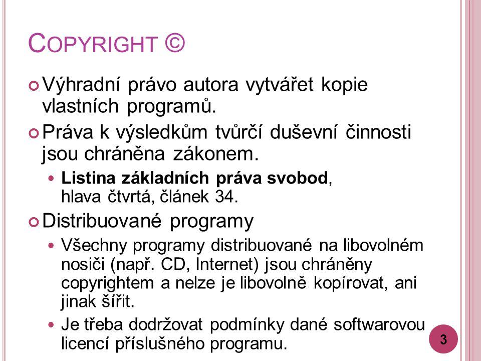 C OPYRIGHT © Výhradní právo autora vytvářet kopie vlastních programů.
