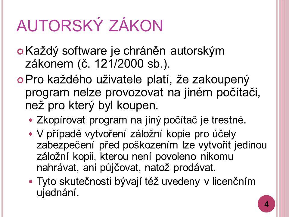 AUTORSKÝ ZÁKON Každý software je chráněn autorským zákonem (č.