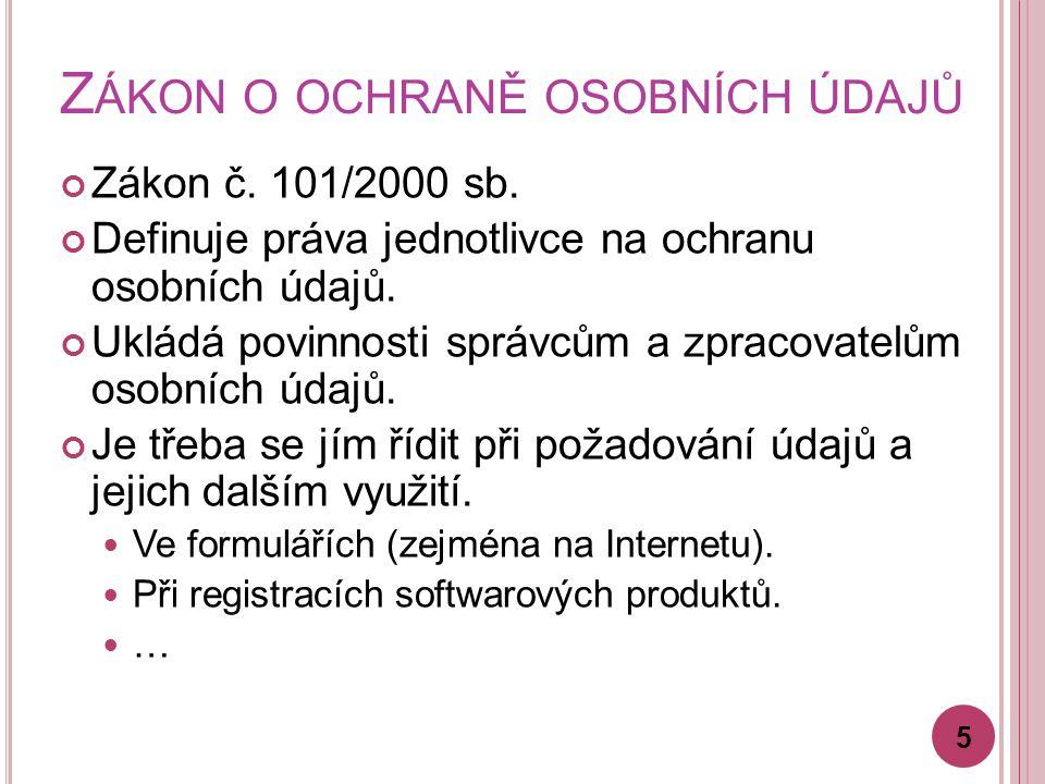 Z ÁKON O OCHRANĚ OSOBNÍCH ÚDAJŮ Zákon č. 101/2000 sb.