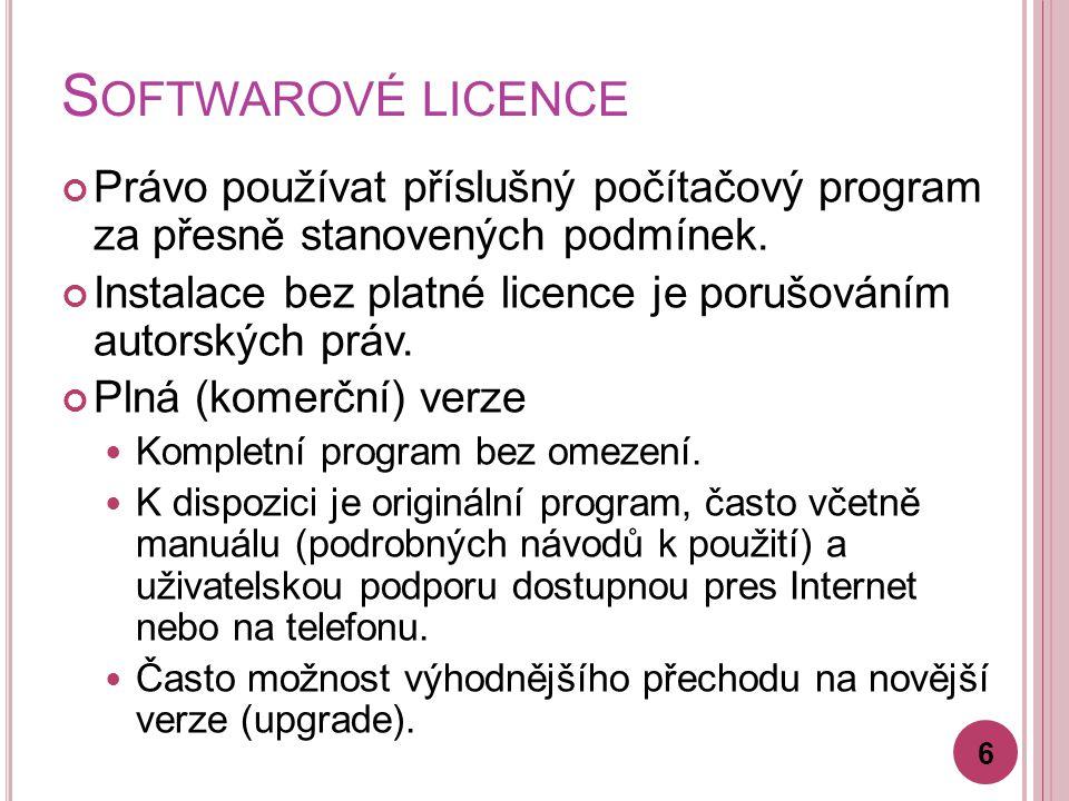 S OFTWAROVÉ LICENCE Právo používat příslušný počítačový program za přesně stanovených podmínek.