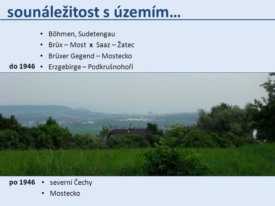 sounáležitost s územím… Böhmen, Sudetengau Brüx – Most x Saaz – Žatec Brüxer Gegend – Mostecko Erzgebirge – Podkrušnohoří severní Čechy Mostecko do 19