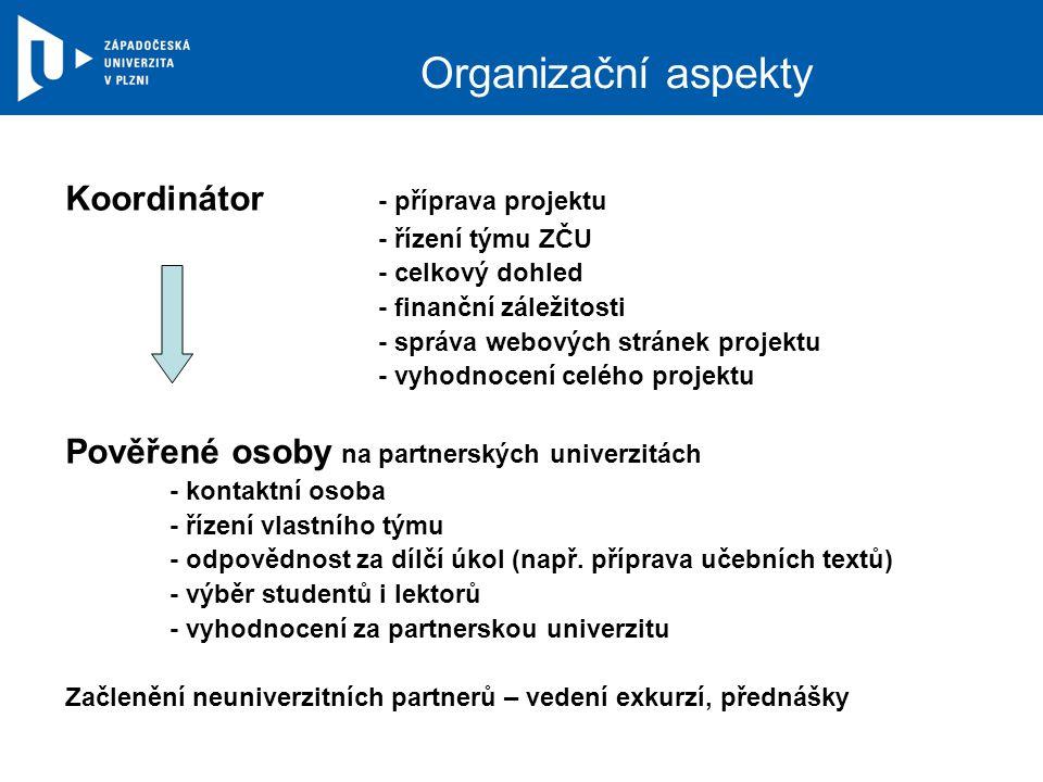 Organizační aspekty Koordinátor - příprava projektu - řízení týmu ZČU - celkový dohled - finanční záležitosti - správa webových stránek projektu - vyhodnocení celého projektu Pověřené osoby na partnerských univerzitách - kontaktní osoba - řízení vlastního týmu - odpovědnost za dílčí úkol (např.