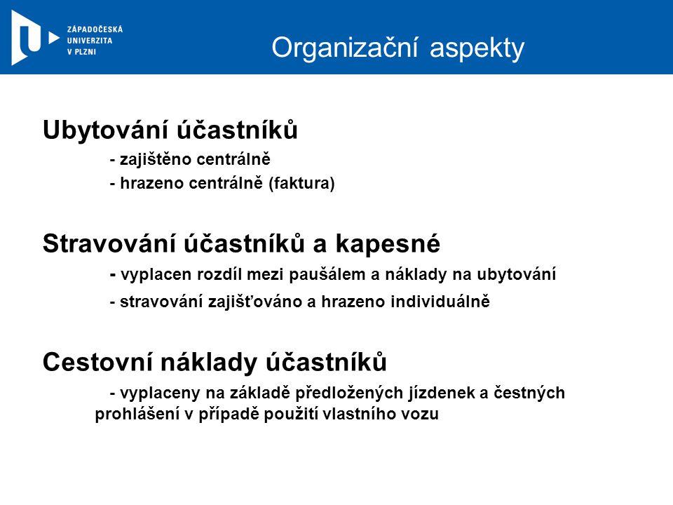 Organizační aspekty Ubytování účastníků - zajištěno centrálně - hrazeno centrálně (faktura) Stravování účastníků a kapesné - vyplacen rozdíl mezi pauš
